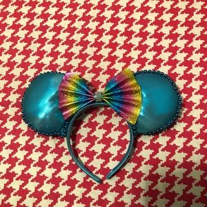 Turquoise Rainbow Bow Mouse Ears